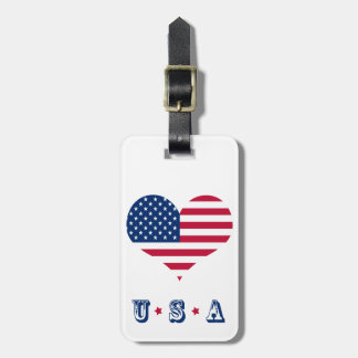 America flag American USA heart Luggage Tag