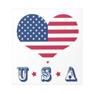 America flag American USA heart Notepad