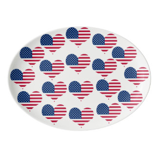 America flag American USA heart Porcelain Serving Platter