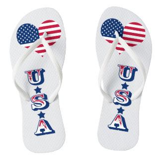 America flag American USA heart Thongs