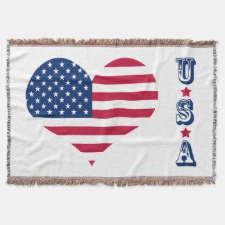 America flag American USA heart Throw Blanket