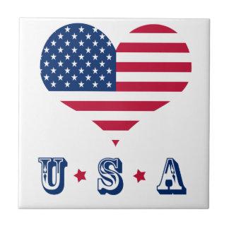America flag American USA heart Tile