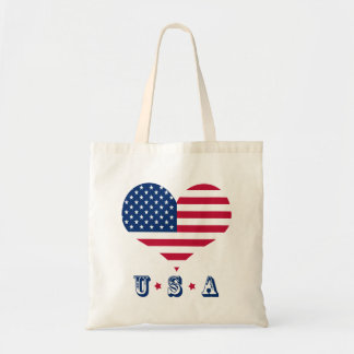 America flag American USA heart Tote Bag