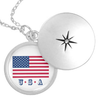 America flag American USA Locket Necklace