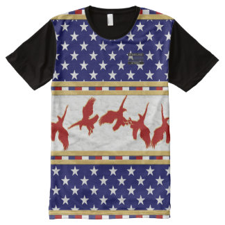 America Flag Colours Red Bald Eagle Stars T-Shirt All-Over Print T-Shirt