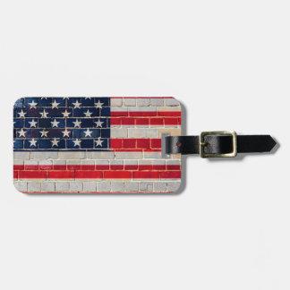 America flag on a brick wall luggage tag