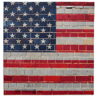 America flag on a brick wall napkin