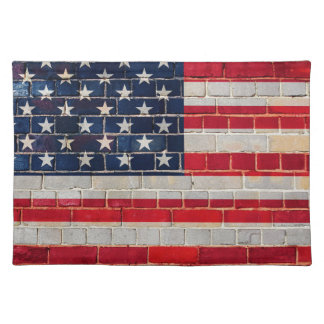 America flag on a brick wall placemat