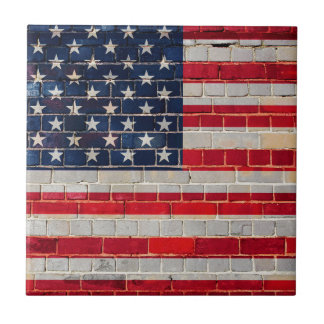 America flag on a brick wall tile