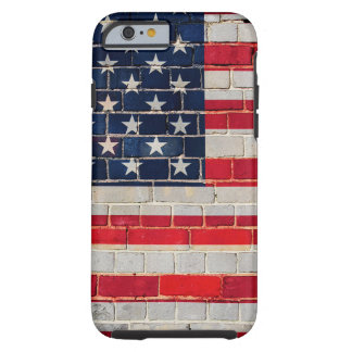 America flag on a brick wall tough iPhone 6 case