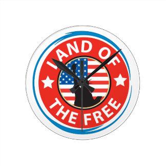 America Land of the Free Round Clock