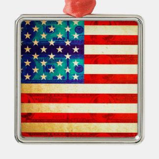 America money flag metal ornament