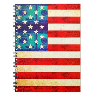 America money flag notebook