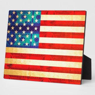America money flag plaque