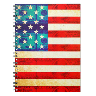 America money flag spiral notebook