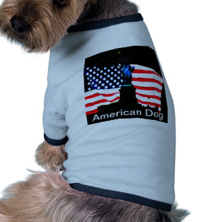 America Patriotic Statue of Liberty American Flag Doggie Tee Shirt