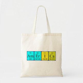 America periodic table name tote bag