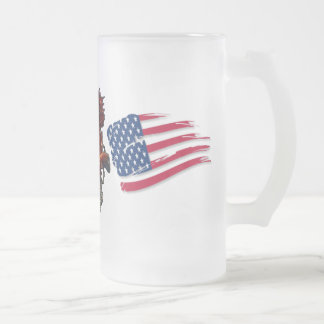 america proud frosted glass beer mug
