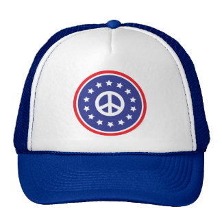 America Red, White, Blue Peace Sign Hat