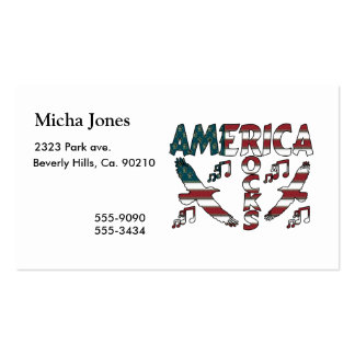 America Rocks With Eagles & Musical Notes Business Cards
