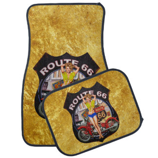 America route 66 motorcycle With a gold texture Car Mat