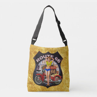 America route 66 motorcycle With a gold texture Crossbody Bag