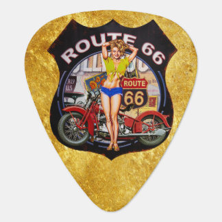 America route 66 motorcycle with a gold texture guitar pick