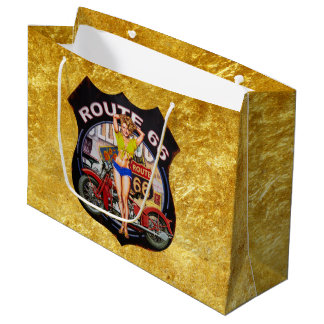 America route 66 motorcycle With a gold texture Large Gift Bag