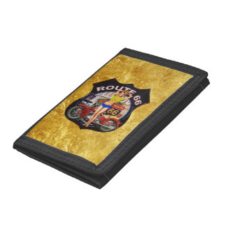 America route 66 motorcycle With a gold texture Tri-fold Wallet