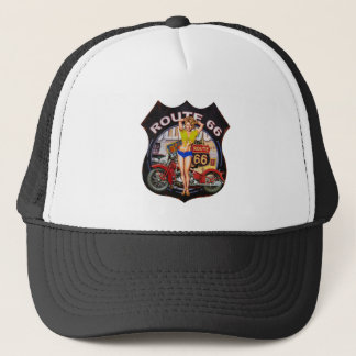 America route 66 with a motorcycle trucker hat