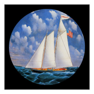 America Schooner Yacht by Bard Round Poster