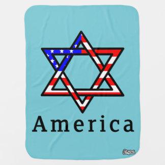 America Star of David Judaism! BABY BLANKET! Baby Blanket