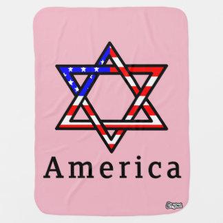 America Star of David Judaism! BABY BLANKET! PINK Pramblanket