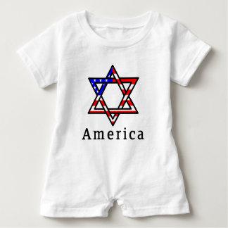 America Star of David Judaism! BABY ROMPER! Baby Bodysuit