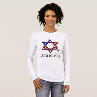 America Star of David Judaism! LONG SLEEVE SHIRT