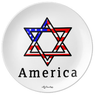 America Star of David Judaism! PLATE! Porcelain Plates