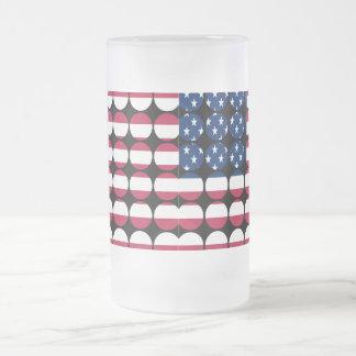 America Stylish Girly Chic Polka Dot American Flag Frosted Glass Beer Mug
