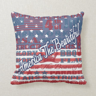America the Beautiful Independence Day July 4th US Cushion