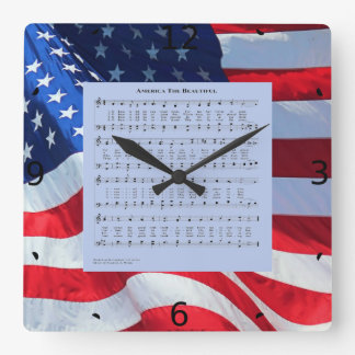 AMERICA THE BEAUTIFUL SQUARE WALL CLOCK