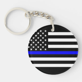 America Thin Blue Line Symbol Double-Sided Round Acrylic Key Ring