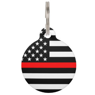 America Thin Red Line Symbol Pet Tag