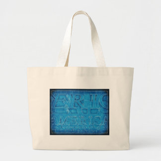 America Typographic Blueprint Large Tote Bag