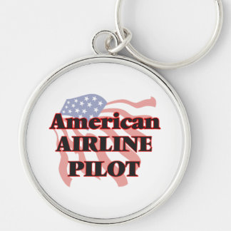 American Airline Pilot Silver-Colored Round Key Ring