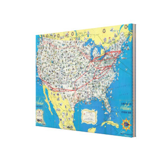 American Airlines system map Gallery Wrap Canvas