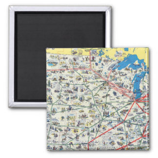 American Airlines system map Square Magnet