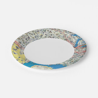 American Airlines system map 7 Inch Paper Plate