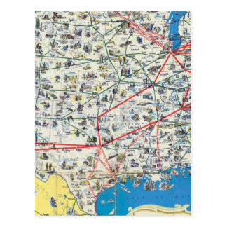American Airlines system map Postcard