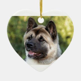 American Akita Dog Ceramic Heart Decoration