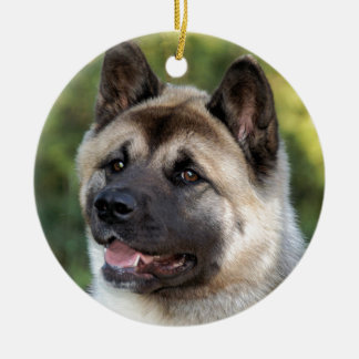 American Akita Dog Round Ceramic Decoration