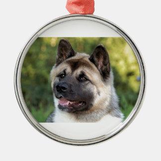 American Akita Dog Silver-Colored Round Decoration
